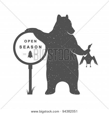 Vintage Illustration Of Funny Bear Hunter
