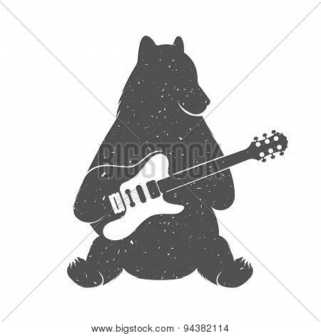 Vintage Illustration Of Funny Bear With Guitar