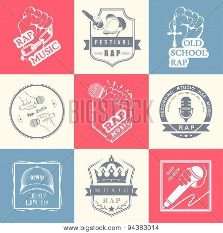 Set Logo And Badges Rap Music