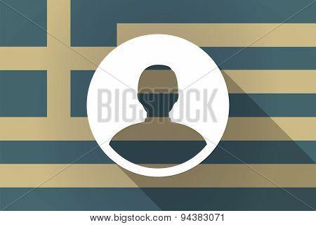 Greece  Long Shadow Flag With A Male Avatar
