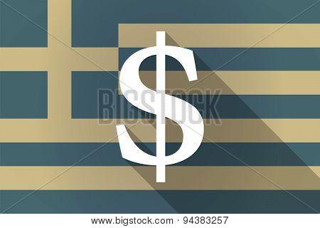 Greece Long Shadow Flag With A Dolar Sign