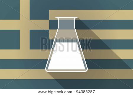 Greece  Long Shadow Flag With A Chemical Test Tube