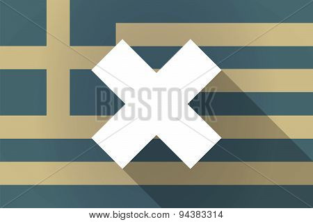 Greece Long Shadow Flag With An X Dsign