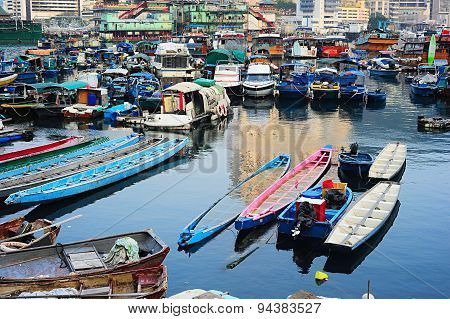Boats In Aberdeen Village, Hk