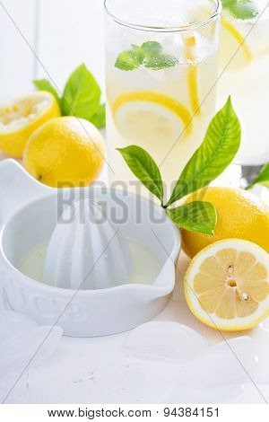 Making homemade lemonade with ceramic juicer