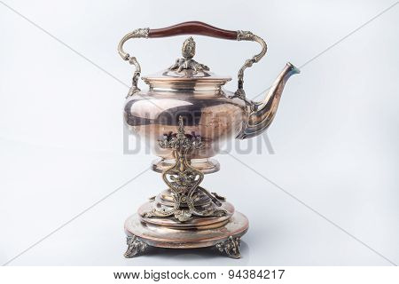 Old Relic Silver Kettle White Background.