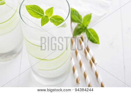 Cucumber cooler in tall glasses