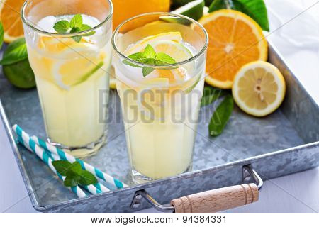 Homemade citrus lemonade in tall glasses