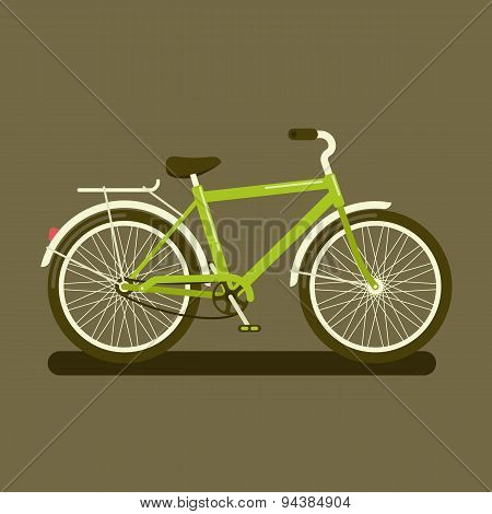 Green Bicycle On Dark Background