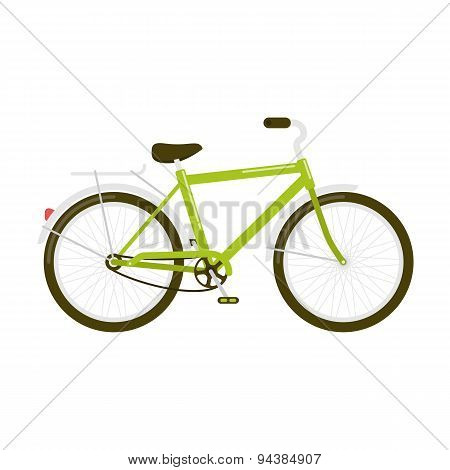 Green Bicycle Isolated On White