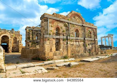 Ancient Ruins Of Building And Apollo Temple Roman Empire, Side, Turkey, Archeology Background