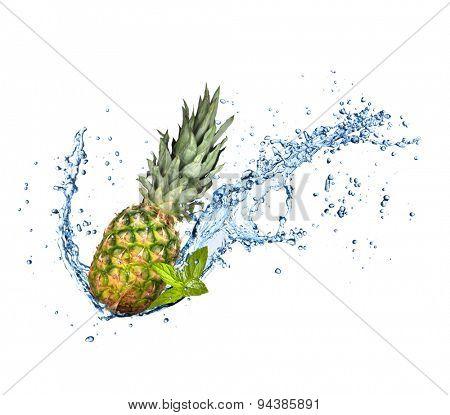 Fresh pine-apple in water splash isolated on white background