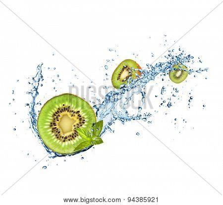 Kiwi fruit in water splash, isolated on white background