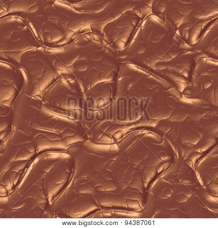 Molten Bronze 3D Generated Seamless Background, Glossy Metal Surface, Metallic Texture.