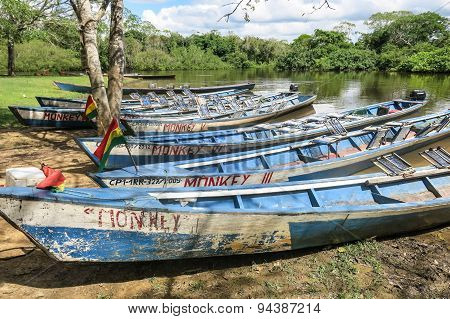 Boats In The Port On Madidi River