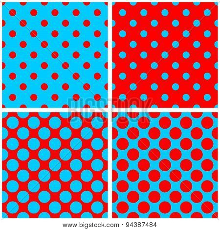 Tile vector pattern set with sailor blue and red polka dots