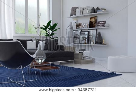 Cozy lounge interior in a modern house with a corner upholstered suite, blue rug and shelves of mementos in an airy room with large windows, white floor and walls. 3d Rendering.