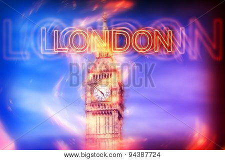 Blurred Red Neon London Sign Overlay on Big Ben Clock Tower on Sky in Shades of Blue and Purple