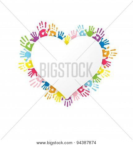 White Heart Shape Sticker On Background With Multicolor Handprints.