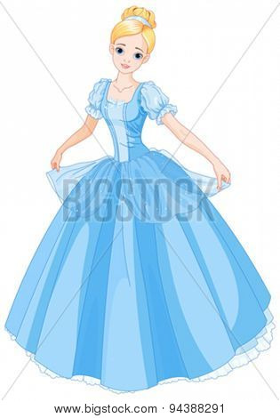Illustration beautiful girl dressed ball gown