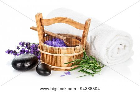 Spa still life with lavender saltl isolated on white background