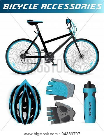 Mountain bike with bicycle accessories. Helmet, gloves, water bottle. Black and blue style. Isolated