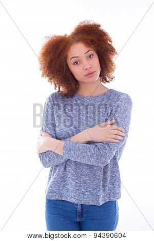 Young African American Teenage Girl With Folded Arms, Isolated On White Background