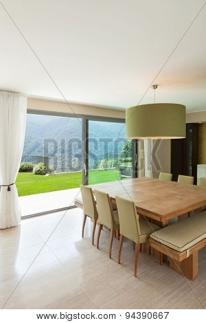 Interior of a modern apartment furnished, comfortable dining room