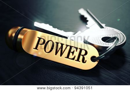 Keys to Power. Concept on Golden Keychain.