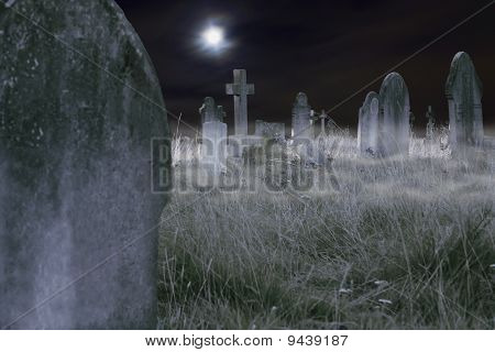 Scary Cemetery At Night