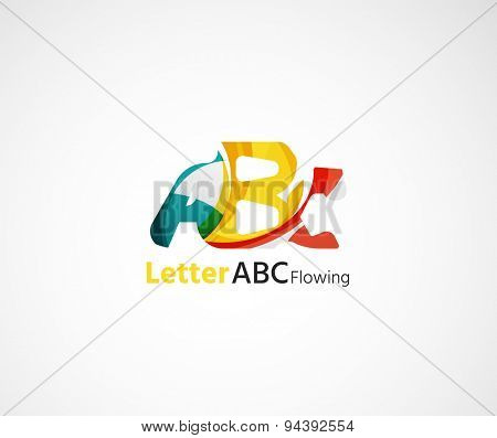 Abstract geometric company logo letter. illustration of universal shape concept made of various wave overlapping elements