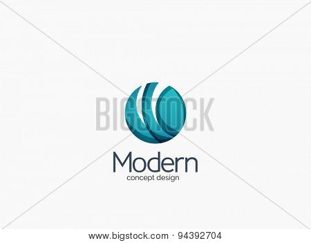 Modern circle company logo, clean glossy design. Abstract shape made of color overlapping wave pieces