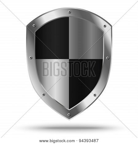 Silver Shield With Chessboard Pattern. Protection Or Hazard Symbol.