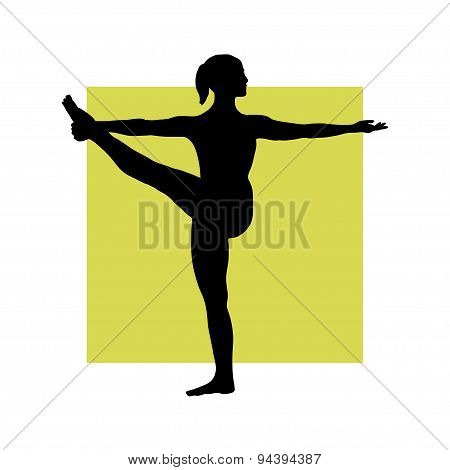 Girl in yoga pose on the square background.