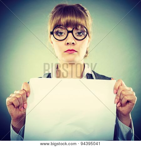 Businesswoman Manager Holding Blank Copy Space.