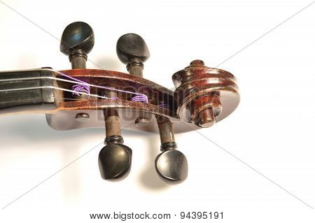 Antique Violin Scroll Against White