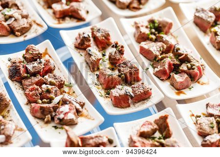 meat on the catering table
