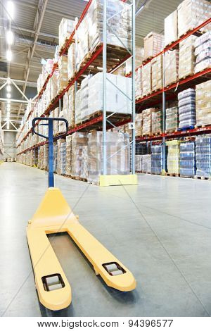Manual forklift pallet stacker truck equipment at warehouse panorama