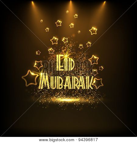 Creative golden text Eid Mubarak shining in spotlight on stars decorated brown background for Muslim community festival, Eid Mubarak celebration.
