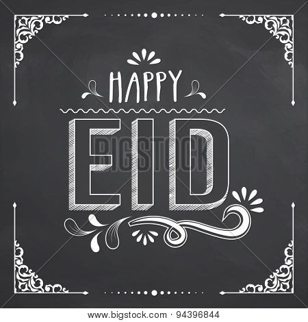 Stylish text Happy Eid on floral design decorated chalkboard background, can be used as poster, banner or flyer design for Muslim community festival celebration.