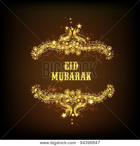 Beautiful golden floral design decorated greeting card for Muslim community festival, Eid Mubarak celebration.