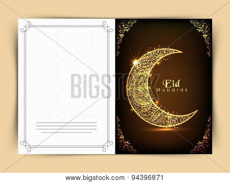Elegant greeting card with golden floral design decorated crescent moon on shiny brown background for famous festival of Muslim community, Eid celebration.
