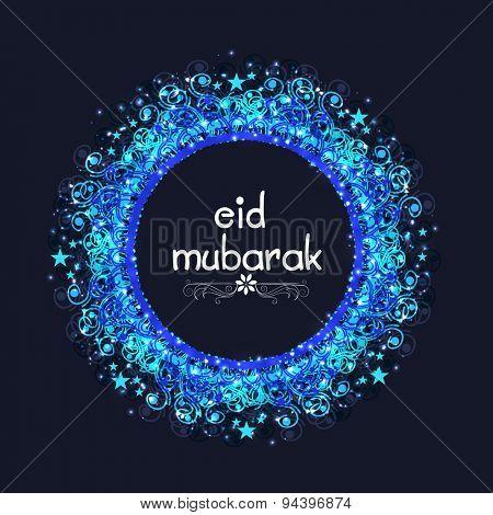Shiny floral design decorated rounded frame for Muslim community festival, Eid Mubarak celebration.