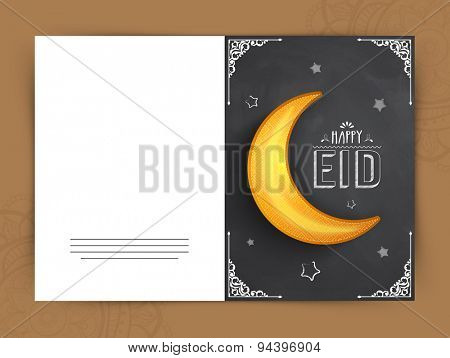 Creative greeting card with beautiful golden crescent moon on floral design and stars decorated chalkboard background for holy festival of Muslim community, Happy Eid celebration.