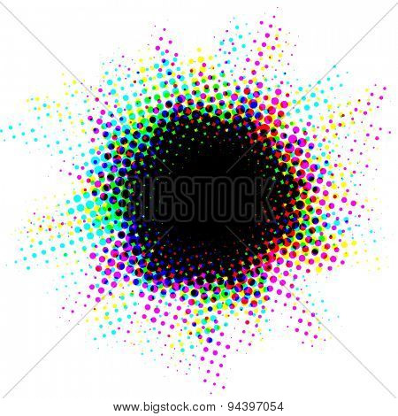 Halftone spot with multicolor exploding effect