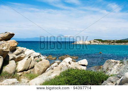 Beautiful view from Karidi beach to the top of Atos mountain