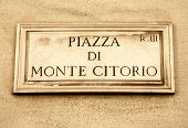 picture of piazza  - Street plate of Piazza di Monte Citorio in Rome Italy - JPG