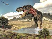 stock photo of carnivorous plants  - Tarbosaurus walking while roaring next to tamaris plants by day  - JPG
