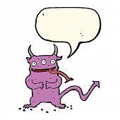 image of demons  - cartoon little demon with speech bubble - JPG