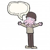 foto of squid  - cartoon alien squid face man with speech bubble - JPG
